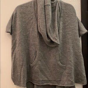 Grey cowl neck poncho